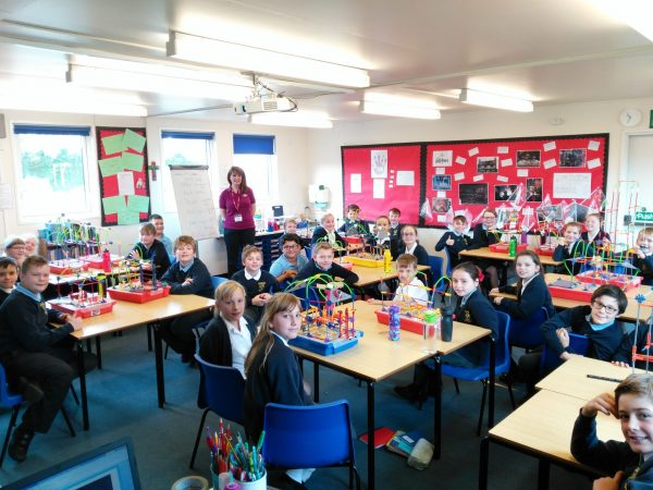 Pupils of Broadheath Primary School with their Worcestershire Primary STEM Challenge constructions.